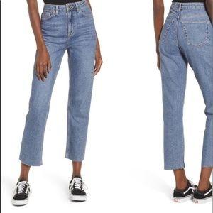 Topshop high-waist straight leg raw hem mom jeans